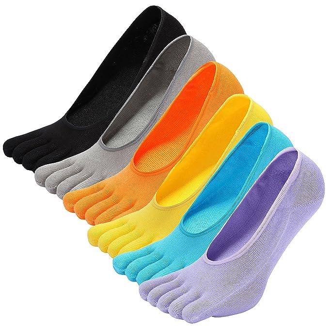 PUTUO Cinco Dedos Calcetines Hombre Calcetines Corte Bajo Elástco de Algodón, Hombre Calcetines Invisibles para