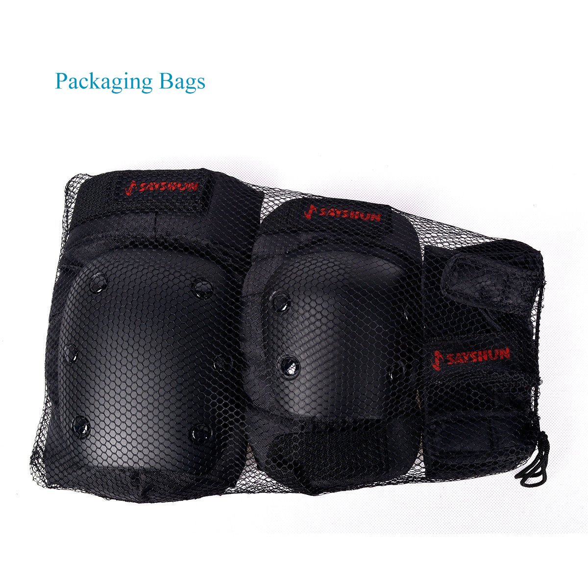 SAYSHUN Protective Gear Sets for Skateboard Cycling Roller Skating Outdoor Sport Blading Knee Elbow Wrist Safety Gear Pad Guard for Youth and Adult (Large)