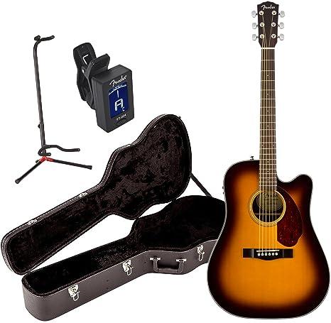 Fender cd-140sce Solid Top Sunburst acústica guitarra eléctrica w/funda, soporte,