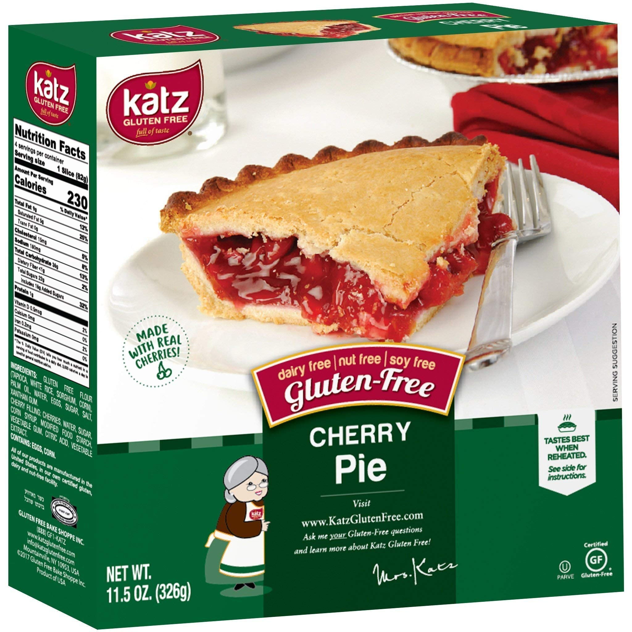 Katz Gluten Free Personal Size Cherry Pie   Dairy, Nut, Soy and Gluten Free   Kosher (6 Packs of 1 Pie, 11.5 Ounce Each) by Katz Gluten Free