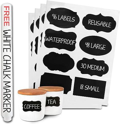 Amazon.com: 96 etiquetas de pizarra y bolígrafo de gis, apta ...