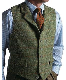 Pretygirl Men s Wool Herringbone Plaid Groom Vests Groom s Suit Vest Tweed  Business Waistcoat Notched Lapel 799ccf4e7577