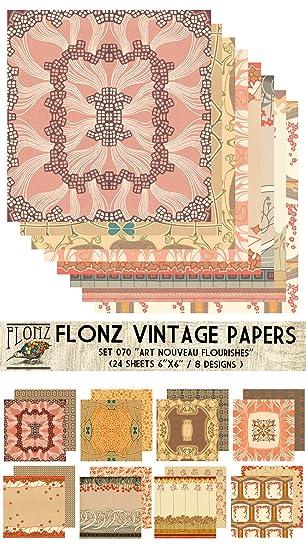 Paper Pack (24blatt 15x15cm) Art Nouveau Schnorkel FLONZ Vintage ...