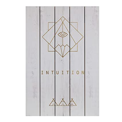 Amazon.com: CDI Furniture WA1017 White Frame Wall Art Intuition Word ...