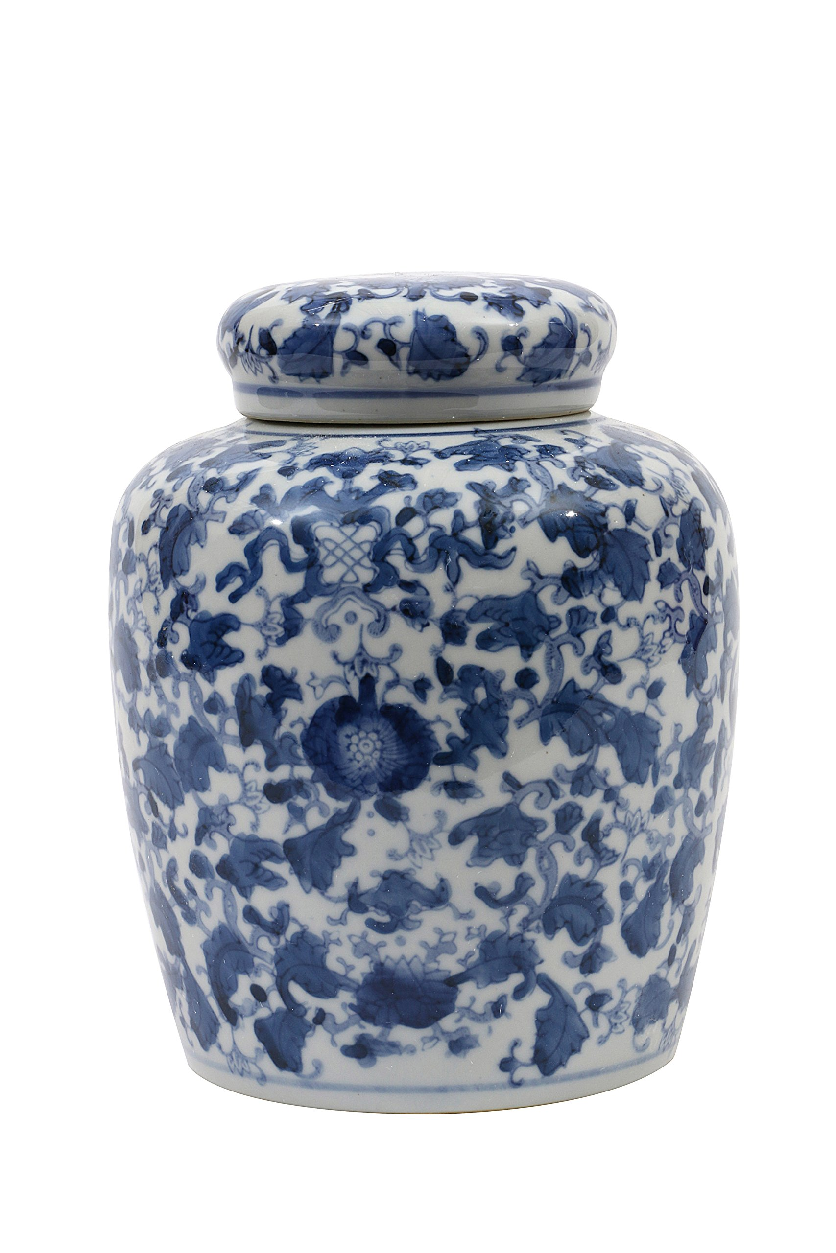 Creative Co-op Decorative Blue and White Ceramic Ginger Jar with Lid