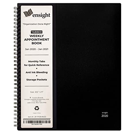 2020 Tabbed Appointment Book & Planner, Daily Hourly Weekly Planner, 8.5 x 11 inches, Calendar and Schedule Book 15-Minute time Slots, Twin-Wire ...