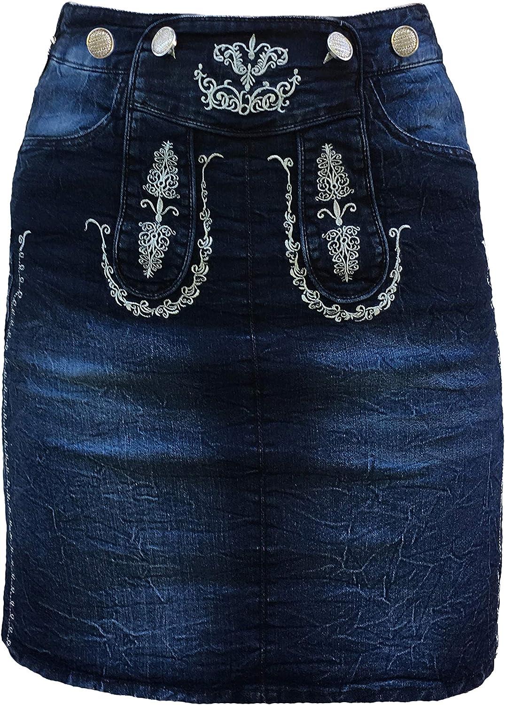 Falda vaquera para mujer, modelo Mia con bordado tradicional azul ...