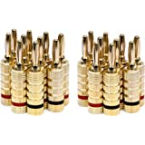 Monoprice 24k Gold Plated Speaker Banana Plugs, Closed Screw Type (10 Pairs)