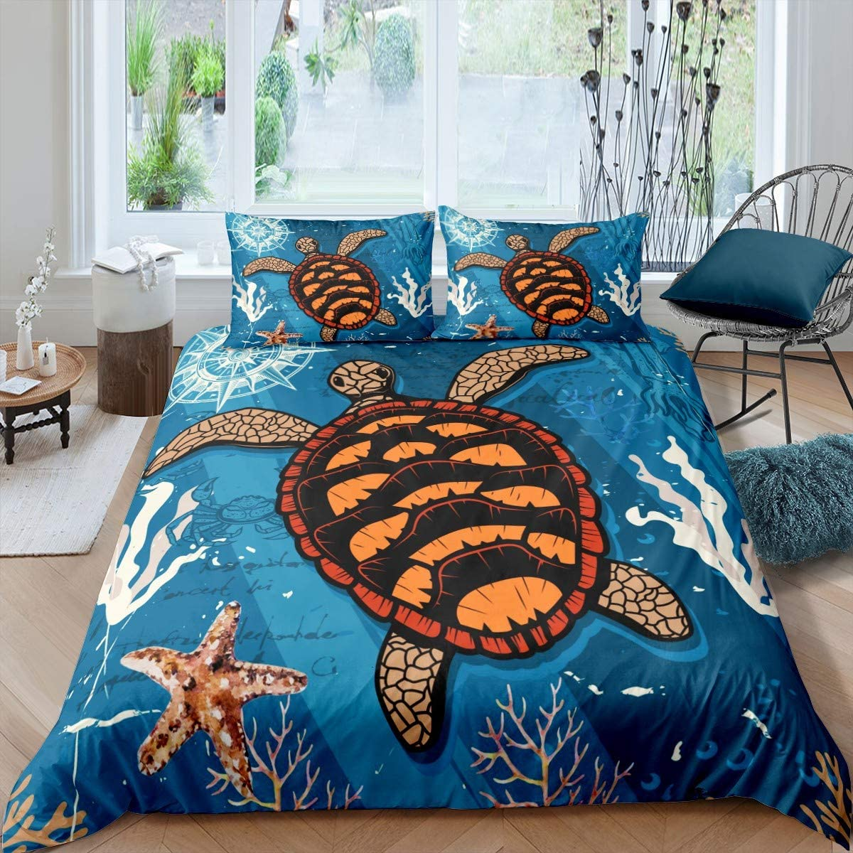 Kids Sea Turtle Comforter Cover Ocean Bedding Set for Boys Girls Teens Beach Starfish Duvet Cover Sea Creature Marine Life Sealife Bedspread Cover Room Decor Quilt Cover Twin Size