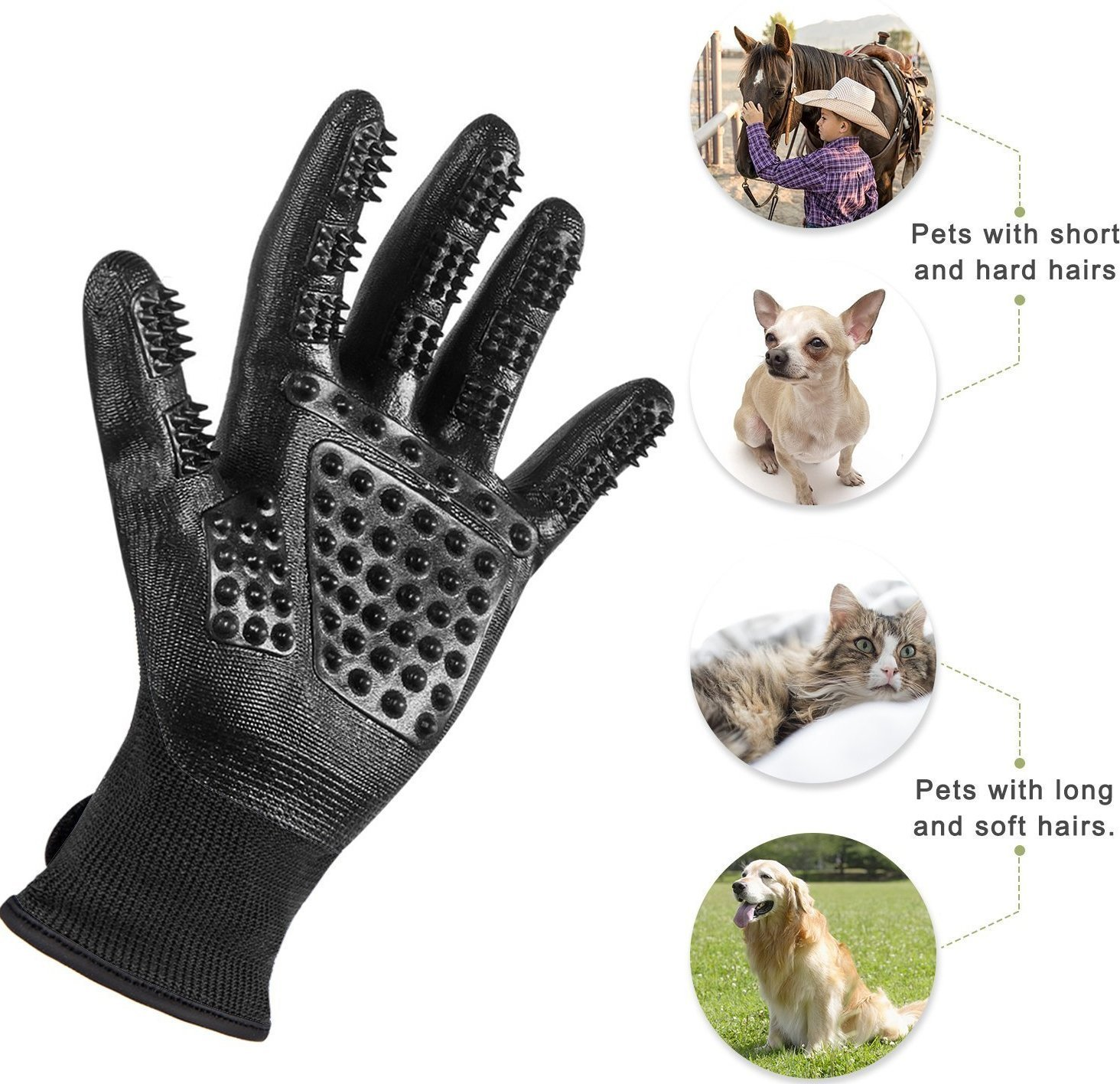 LibbyPet Pet Glooming Gloves for Cats and Dogs Hair Remover Deshedding Brush Glove Combing Massage for Long & Short Fur – Left & Right Hand (Black-S) by LibbyPet (Image #2)