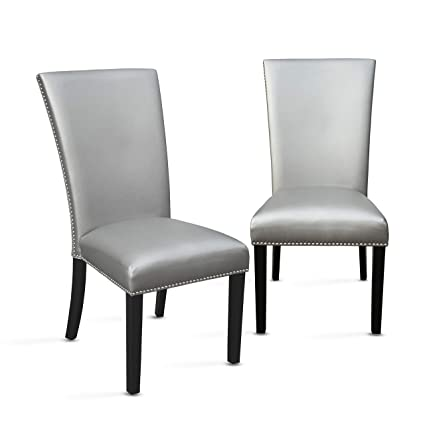 Pleasant Amazon Com Camila Silver Dining Chair Set Of 2 Chairs Andrewgaddart Wooden Chair Designs For Living Room Andrewgaddartcom