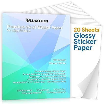 20 hojas de papel adhesivo de vinilo para impresora de ...