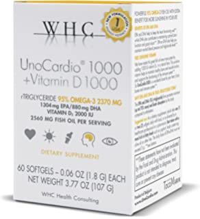 WHC - UnoCardio1000 + Vitamin D1000 (60 Softgels) - 2560 mg of pure Triglyceride