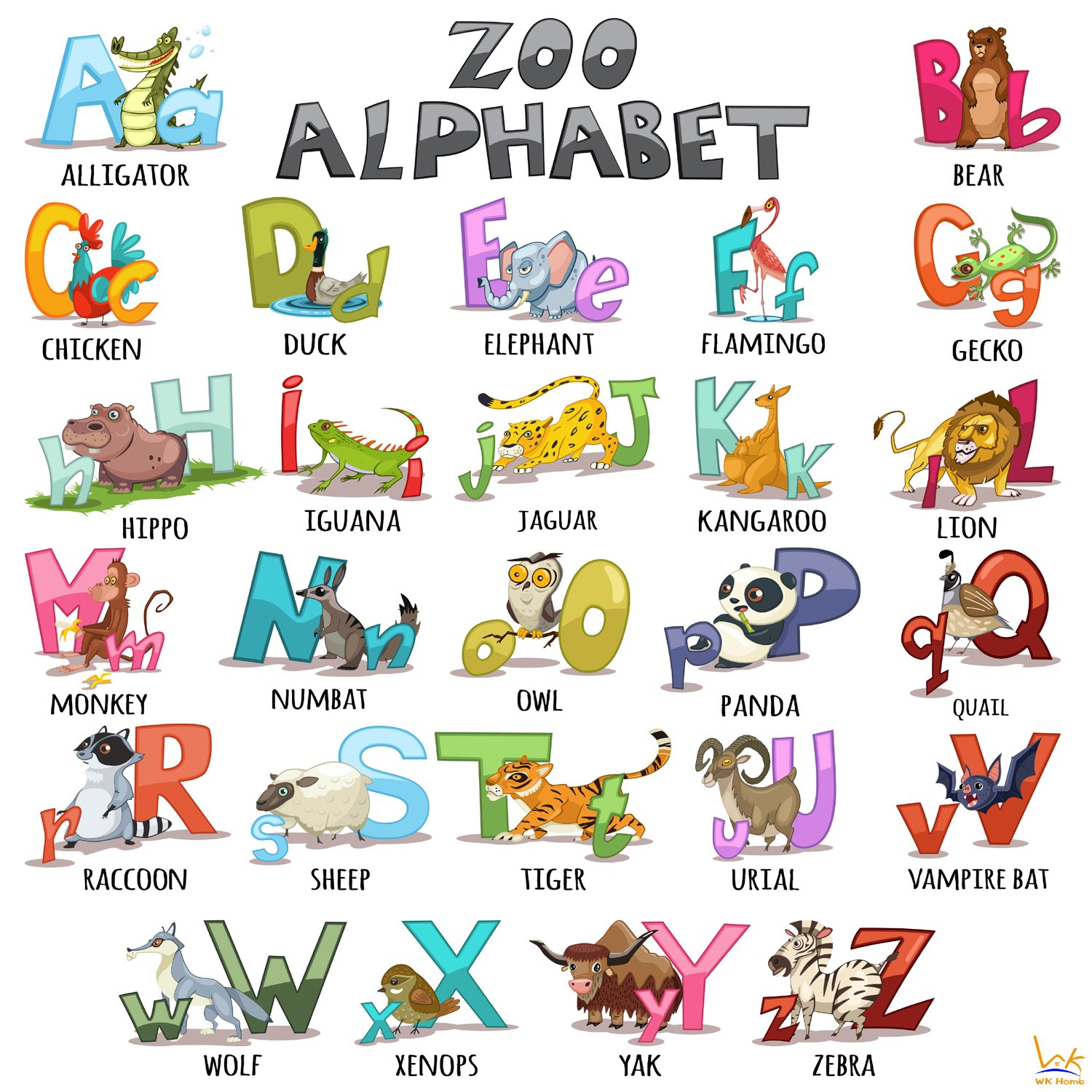 26 Animals Alphabet Peel and Stick Wall Art for Nursery and Kids Bedroom and Living Room . Alphabet Wall Decals Sticker WK Home