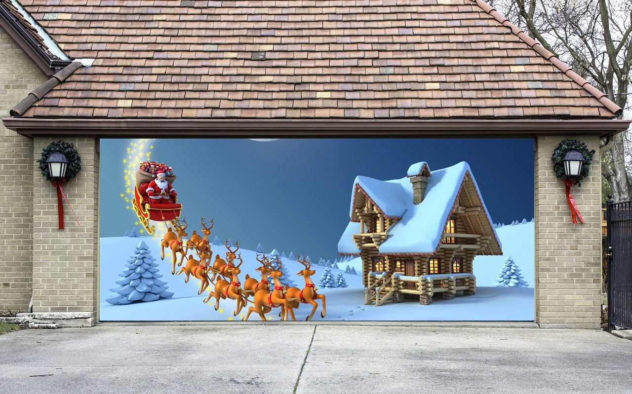Christmas Garage Door Cover Banners 3d Santa In A Sleigh Holiday Outside Decorations Outdoor Decor for Garage Door G52 by Best_WallDecals_For_You
