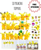 Pokemon Pikachu Cake Topper 18 pcs With 24 Cupcake Pick Mini Toy Figures for Cupcake Decorations | 24 Bonus Stickers