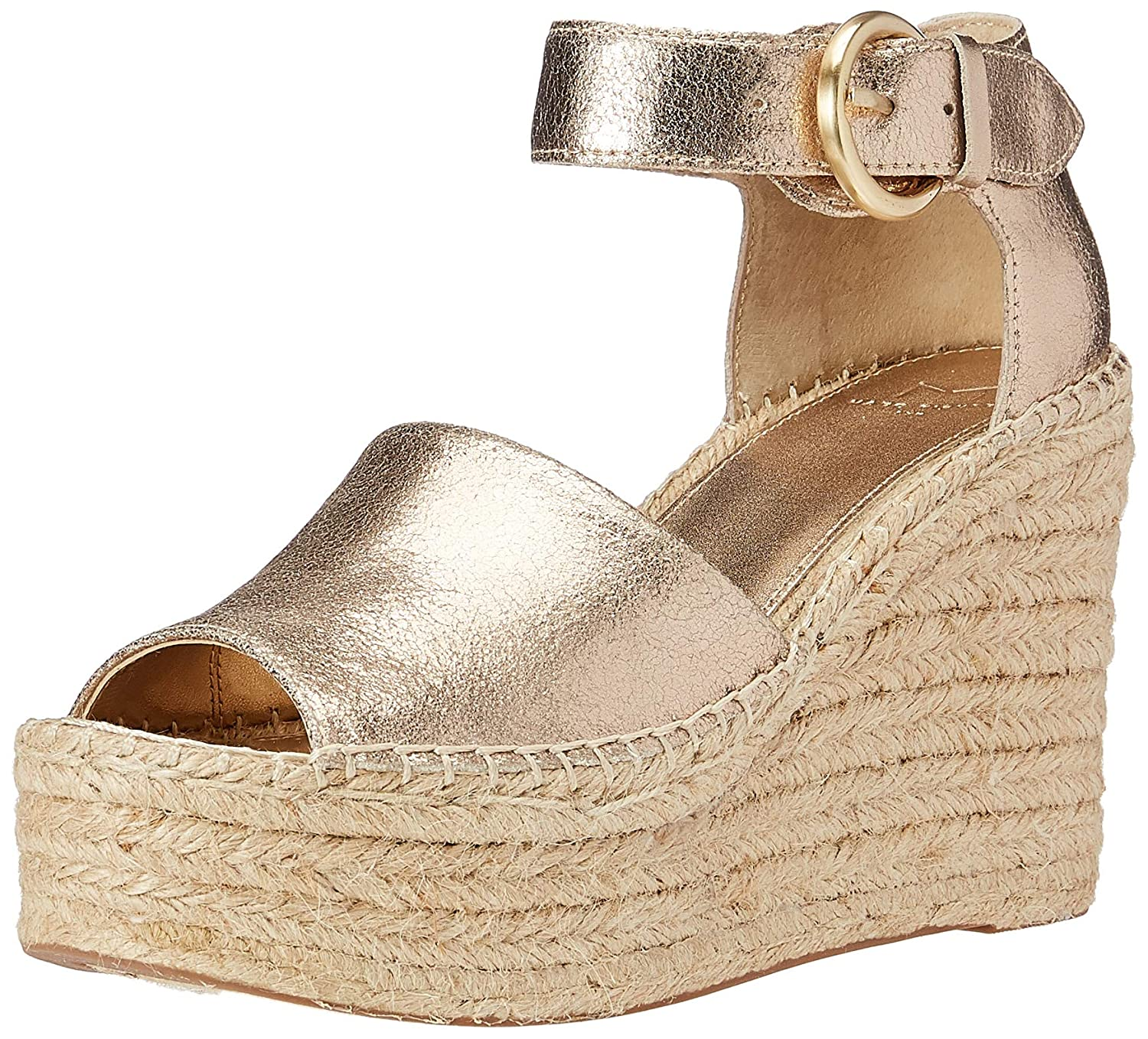 gold Leather Marc Fisher Ltd Womens Alida Espadrille Wedge