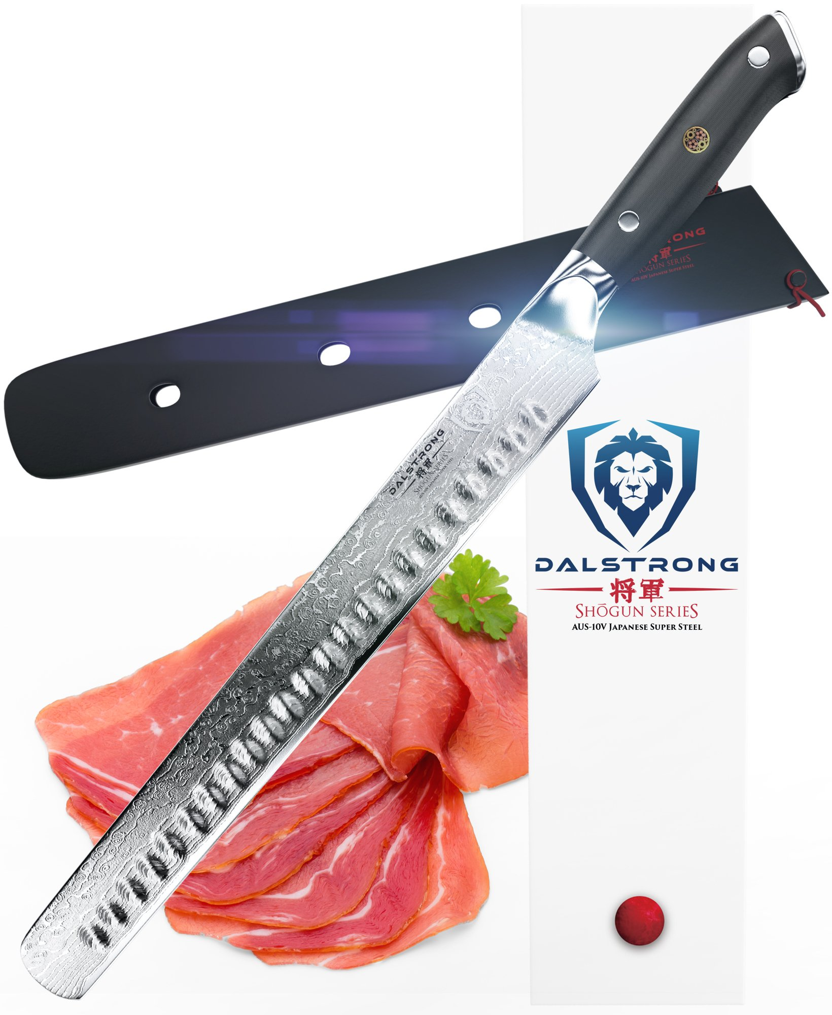 DALSTRONG Slicing Carving Knife - 12'' Granton Edge - Shogun Series - VG10 - Sheath