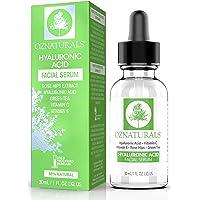 OZNaturals hyaluronsyra serum för ansikte: Hyaluronisk ansiktsserum med vitamin C och E - antioxidant fuktighetskräm…