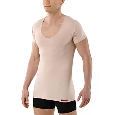 ALBERT KREUZ Men's Invisible deep v-Neck Business Undershirt with Short Sleeves Stretch Cotton Nude Beige