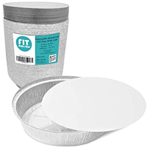 [50 Pack] Round 8 Inch 37 oz, 2.3 lb, 1.1 Quart Disposable Aluminum Foil Pan Take Out Food Containers with Flat Board Lids, Steam Table Hot Cold Freezer Roasting Baking Oven Safe