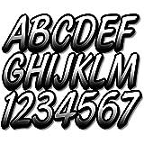 "STIFFIE Whipline White/Black 3"" Alpha-Numeric Boat Registration Numbers Identification Stickers Decals"