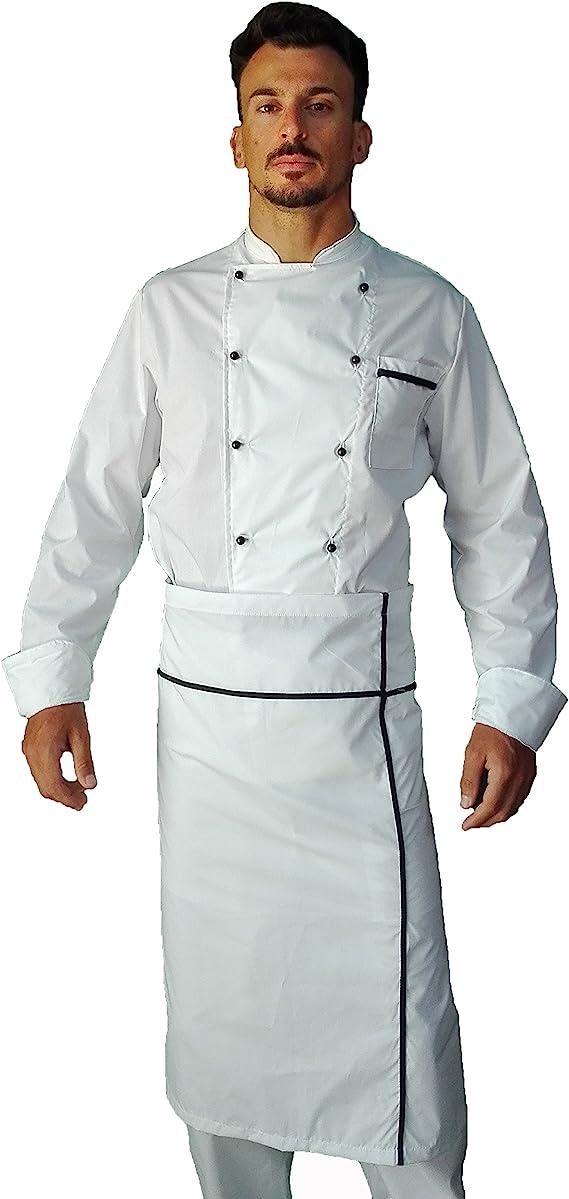 Pantalone Giacca e davantino Made in Italy Divisa Cuoco Chef Donna tessile astorino Completo Nero e Fuxia