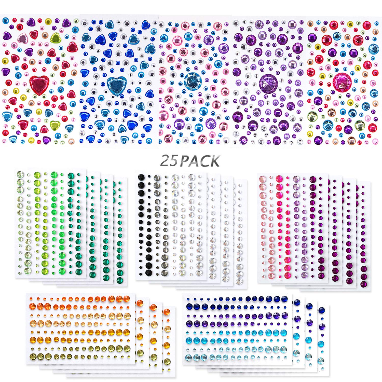 Lanpu 25 Sheets Self-Adhesive Rhinestones Jewels, Rhinestone Stickers DIY Gem Rhinestone Multi Color Gemstone Embellishments Assorted for Makeup, Festival, Crafts & Embellishments More Than 2800PCS