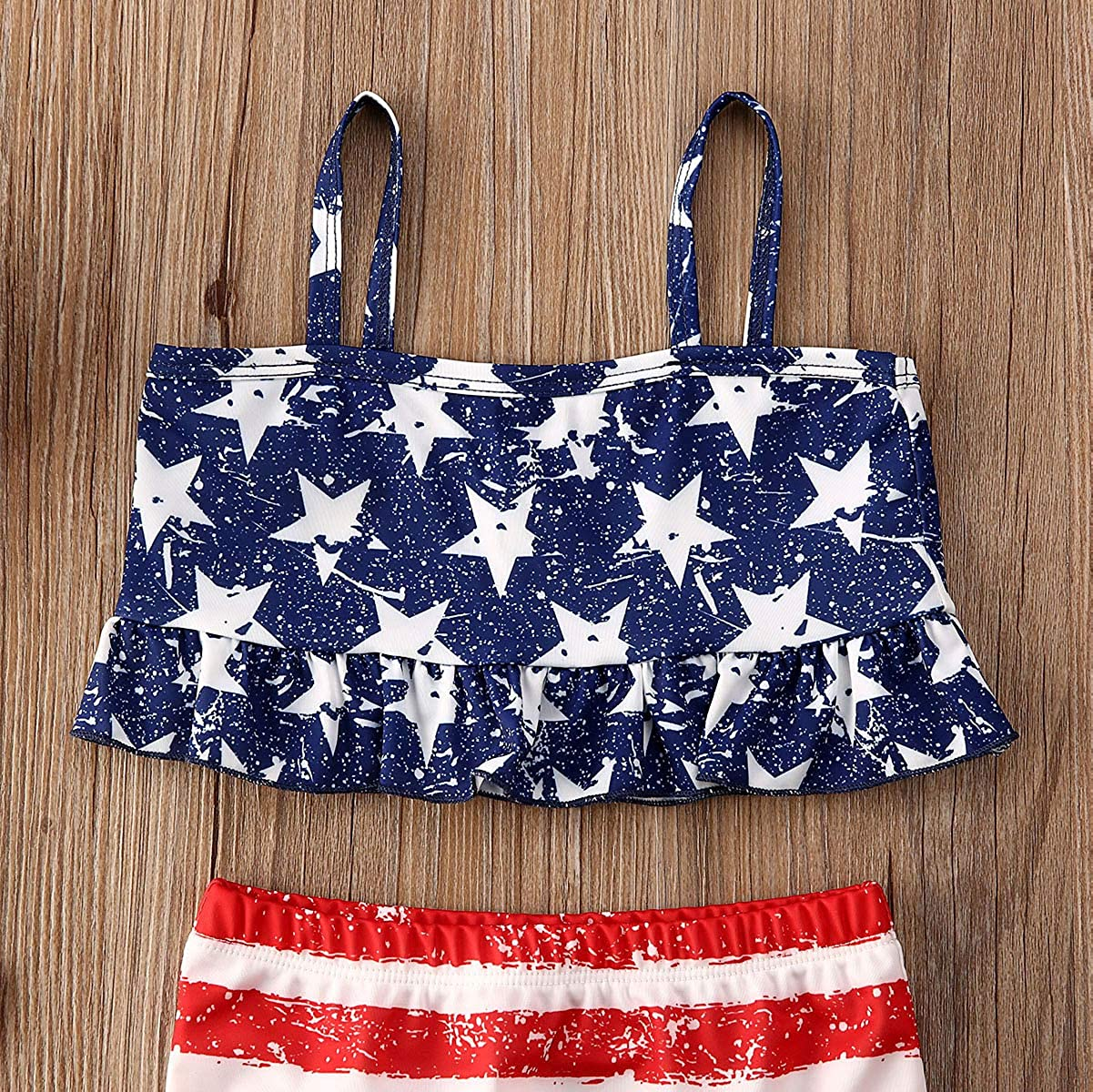 Toddler Baby Gir 4th of July Swimsuit Set Star Print Halter Crop Top Striped Shorts Pants Bathing Suit 2Pcs Bikini Set