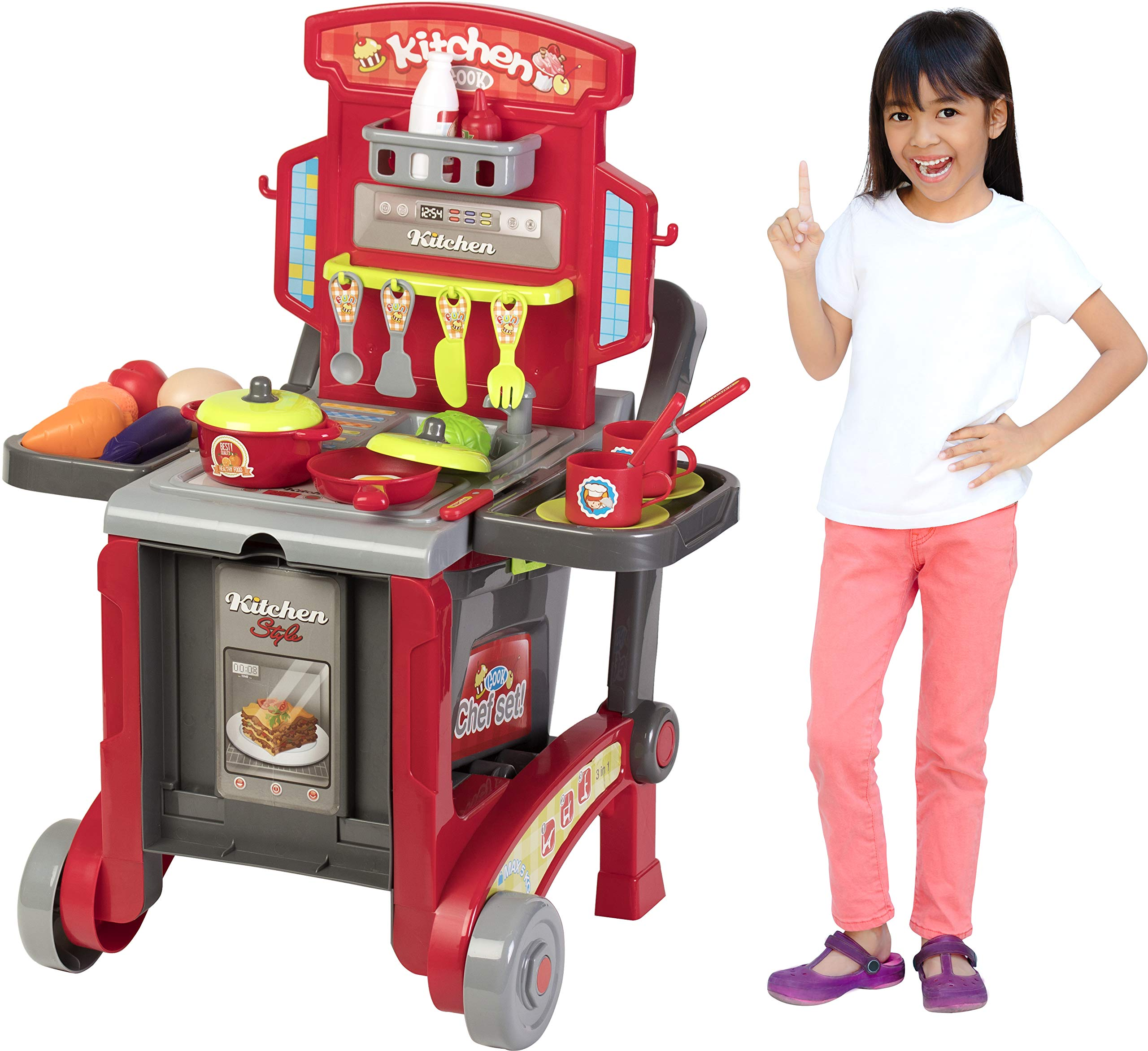 Kitchen Cook Grill Boys Playset Oven Stove, Vegetables, Pots & Pans, Cups, Utensils w/ Compact Carry Case