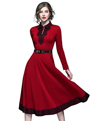 81e2524dea61 LAI MENG FIVE CATS Women s Elegant Collared Neck Long Sleeve Swing Casual  Party Midi Dress Burgundy at Amazon Women s Clothing store