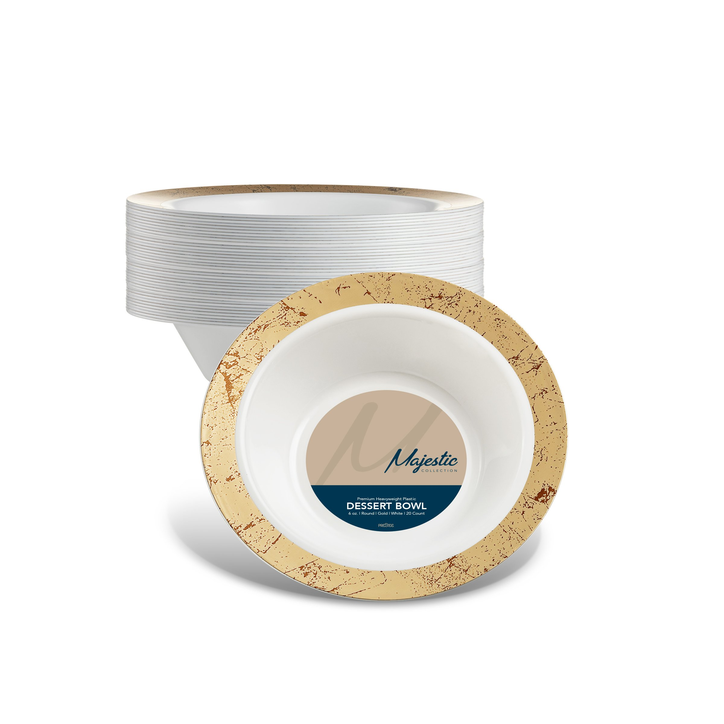 MAJESTIC 6-Oz. Plastic Dessert Bowls | 40 Pack | White with Gold Speckled Rim | Disposable | For Weddings, Parties, Holidays & Occasions.