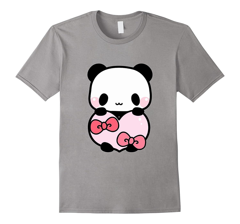 Cute Panda Holding Pink Heart T-Shirt Valentine Gift Ribbon-CL