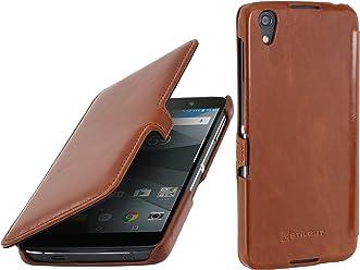 StilGut Book Type avec Clip, Housse Blackberry DTEK50 en Cuir. Etui de Protection à Ouverture latérale, en Cognac