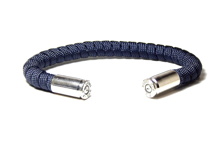 Bullet Bracelet Navy Blue Paracord 9 mm Nickel Casing