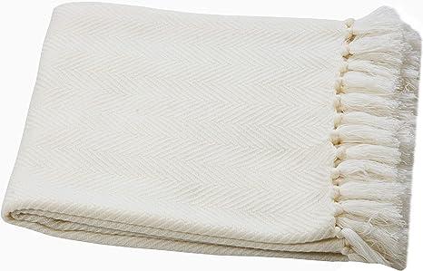Ehc Plaid /à chevrons l/éger 125 x 150 cm laine acrylique doux et chaud au toucher