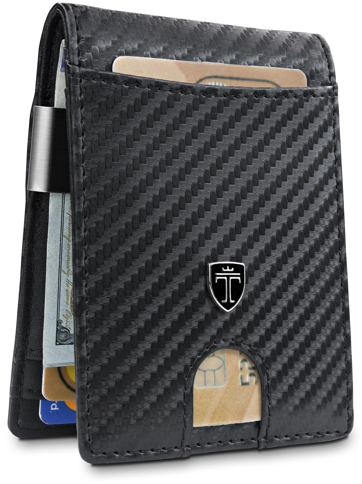 Money Clip Wallet''HOUSTON'' Mens Wallet RFID Blocking Credit Card Holder   Travel Wallet   Minimalist Mini Slim Wallet Bifold for Men with Gift Box TRAVANDO