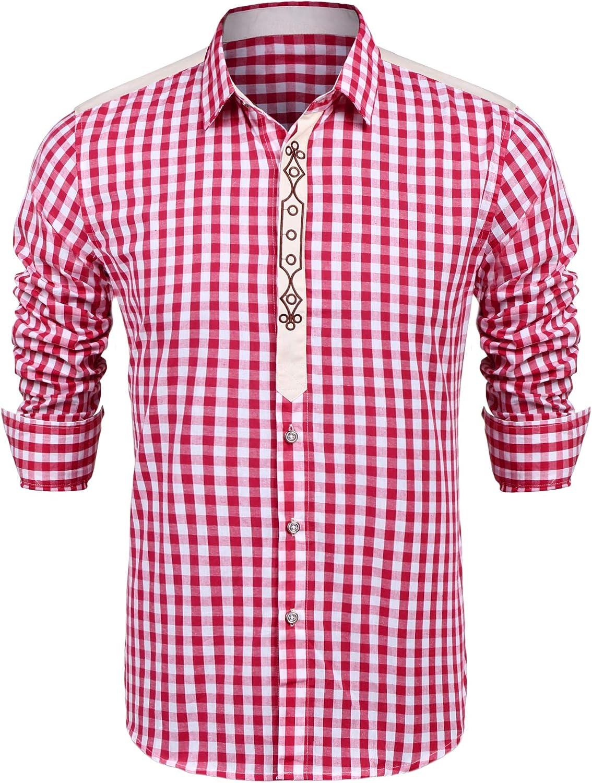 Burlady Camisa a cuadros para hombre, camisa de cuadros para Oktoberfest, camisa de cuadros