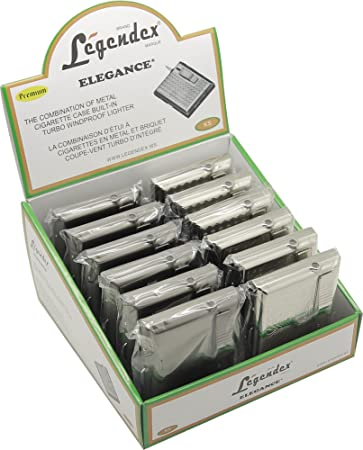 Amazon.com: Legendex Elegance Metal Cigarette Case Built-In Turbo Lighter 06-30-103: Home & Kitchen
