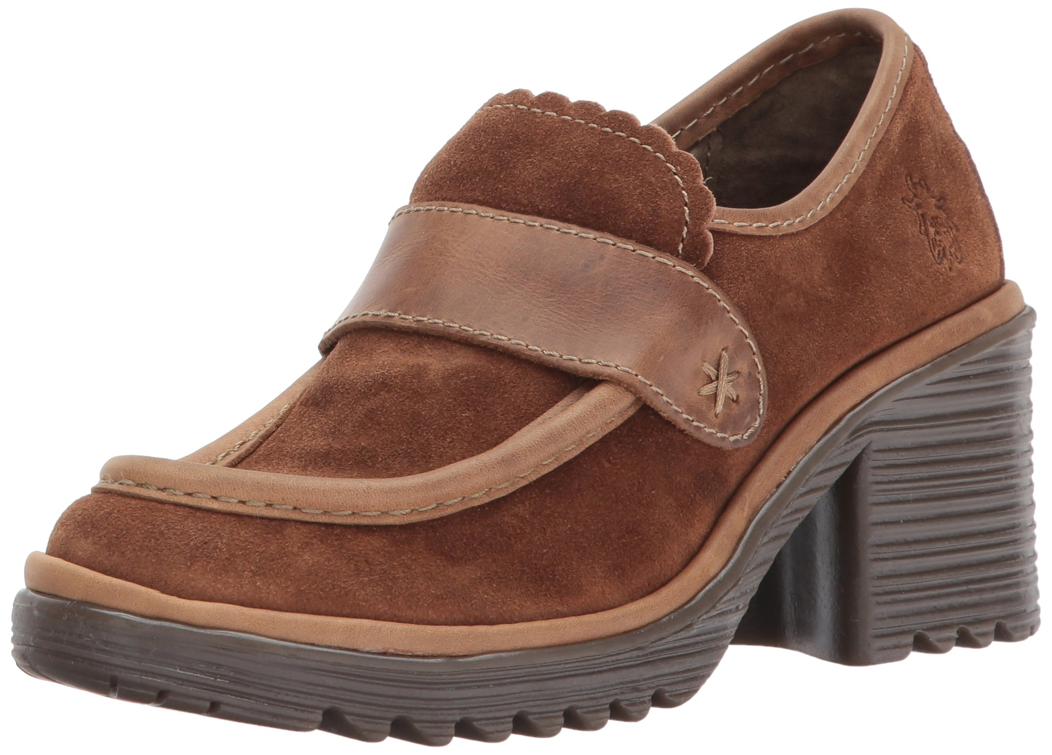 FLY London Women's WEND764FLY Penny Loafer, Camel Oil Suede/Rug, 39 M EU (8-8.5 US)