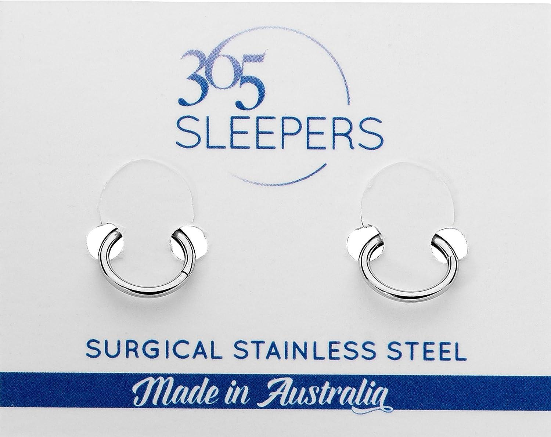 365 Sleepers 1 Pair Stainless Steel 18G Hinged Segment Ring Hoop Sleeper Earrings Body Piercing 5mm//6mm//7mm//8mm//9mm//10mm//11mm//12mm//13mm Thin