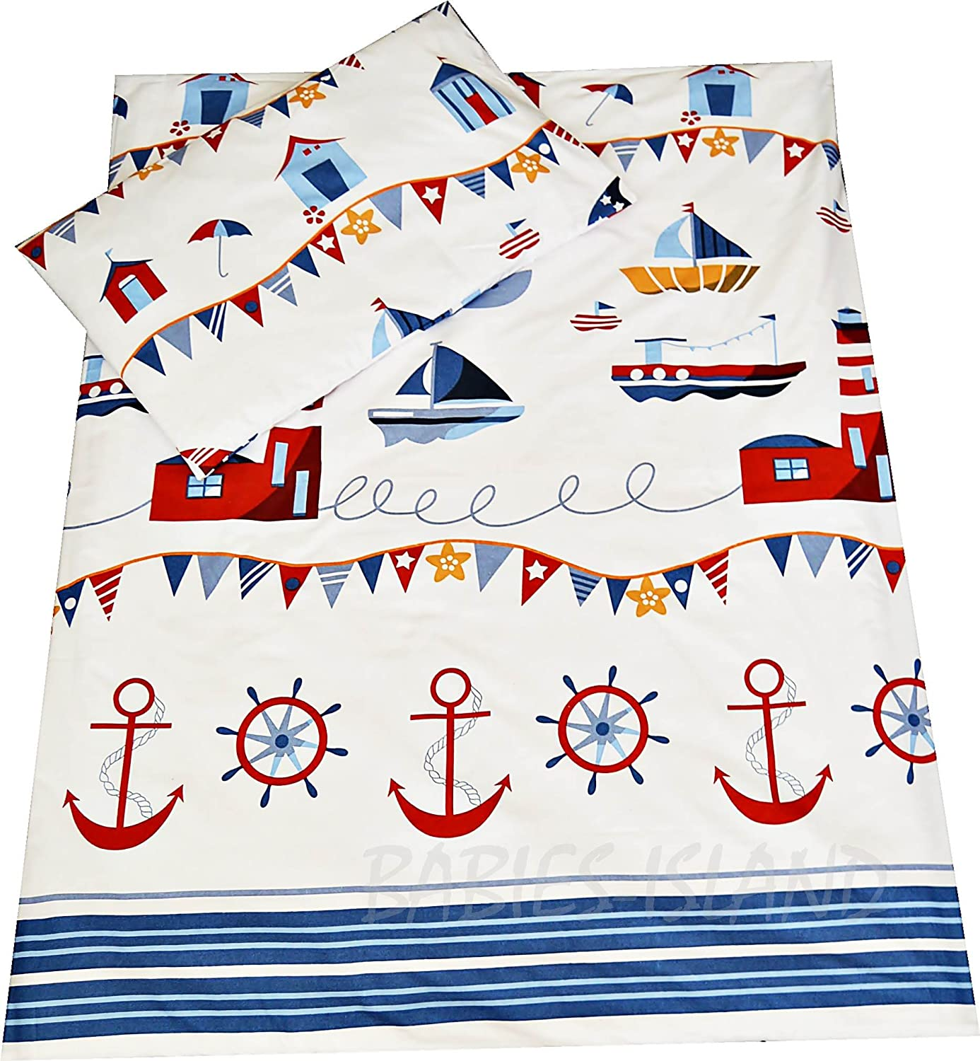 Babies-Island A 2 Piece Bedding Set Pillowcase+Duvet Cover For Baby Toddler To Fit Cot/Cot Bed - MARINA, SEA, LIGHTHOUSE RED (90X120cm)
