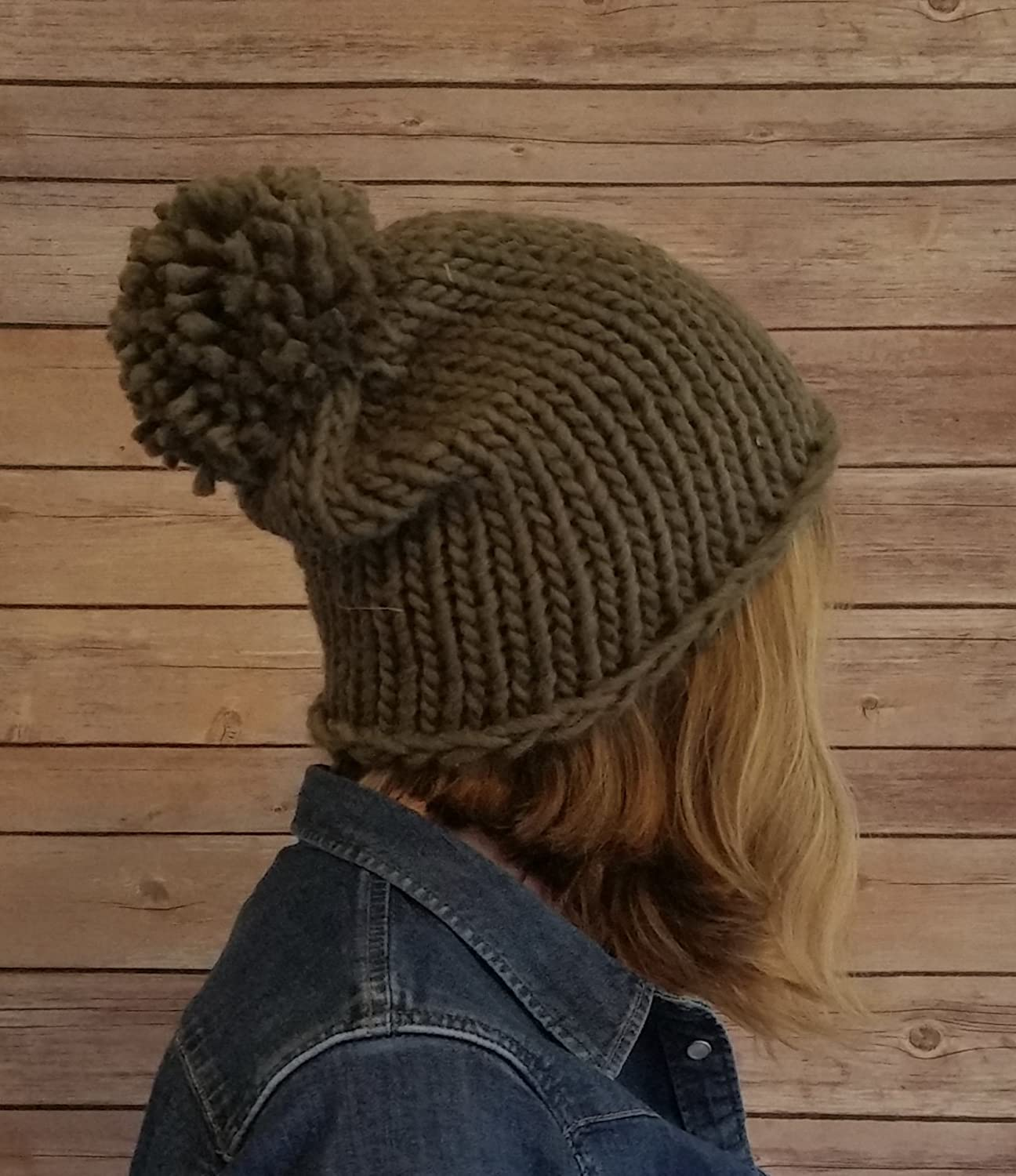 Womens Olive Green Chunky Knit Oversized Winter Bobble Beanie Hat