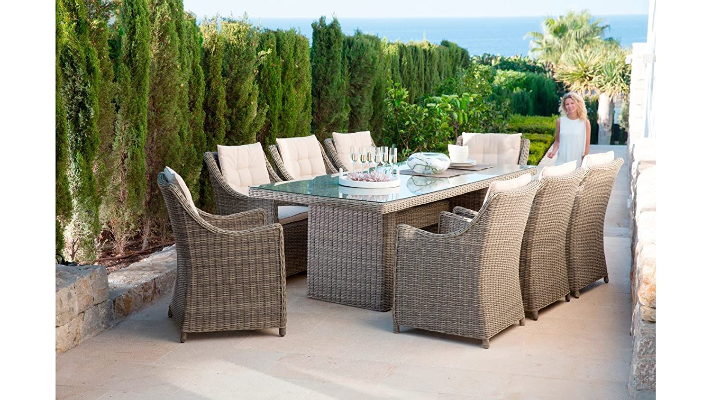 GARTENGUT Gartenmöbelset Rio, 25-tgl., 8 Sessel, Tisch 230x100 cm, Polyrattan, natur Natur