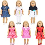 6 Set Different Styles Doll Clothes Outfits Baby Girl Doll Clothes Dress for 18 Inch American Dolls