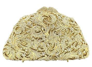 Bolso Mujer Noche Bolsas Partido Nupcial Carteras Brillo Mano Cristales Cadena Embrague Dorado: Amazon.es: Equipaje