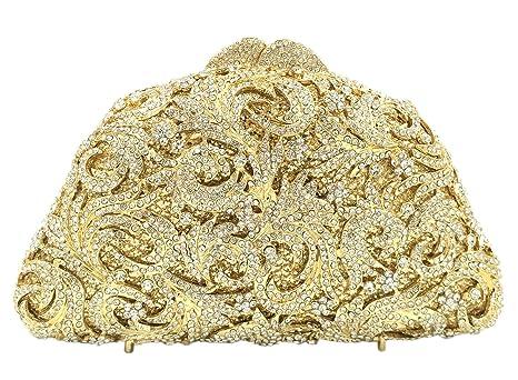 Bolso Mujer Noche Bolsas Partido Nupcial Carteras Brillo Mano Cristales Cadena Embrague Dorado