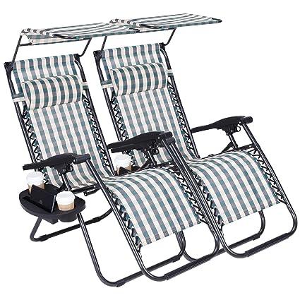 Amazon.com: 2 sillas de playa plegables de cero gravedad con ...