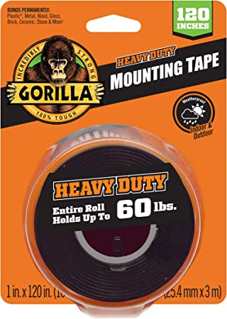 Gorilla Mounting Tape Double Sided Adhesive Roll Strong 1in x 60in Clear 3-Pack