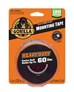 """Gorilla Heavy Duty Double Sided Mounting Tape XL, 1"""" x 120"""", Black (Pack of 1)"""